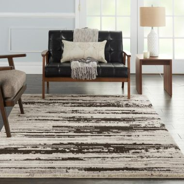 Zermatt Rugs in Ivory / Charcoal by Nourison ZER02