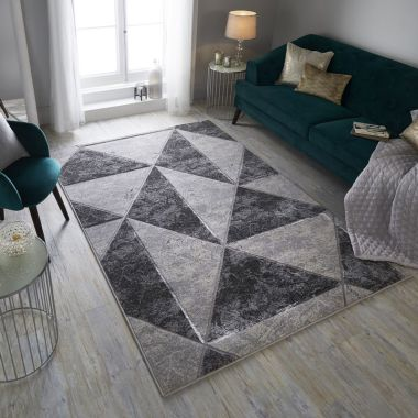 Eris Zeta Abstract Rugs in Silver / Grey